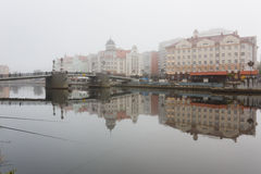 Fog in the Fishing Village, Kaliningrad Stock Photo