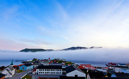 Fog in the fjord. In Honningsvaeg, Norway Royalty Free Stock Photo