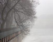 Fog on the Fontanka River. The fog morning in the embankment of the Fontanka River. The Summer Garden. Saint Petersburg. Russia Stock Photo