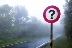 Fog forest and question sign Stock Image