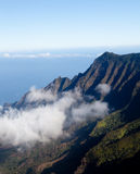 Fog forms on Kalalau valley Kauai Stock Image