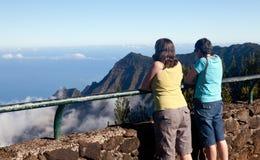 Fog forms on Kalalau valley Kauai stock image