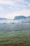 Fog on the garda lake Stock Image