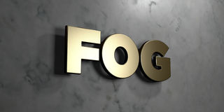 Fog - Gold sign mounted on glossy marble wall  - 3D rendered royalty free stock illustration. This image can be used for an online website banner ad or a print Stock Photos