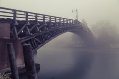 Fog on the Grand Canal and Accademia bridge in Venice Royalty Free Stock Image