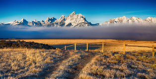 Fog in the Grand Teton mountain range Royalty Free Stock Photo