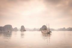 Fog in Halong Bay Stock Photos