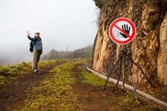 Fog Danger. Fog hazard danger sign foggy path Royalty Free Stock Photography