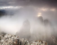 Fog in the high mountains Royalty Free Stock Photography
