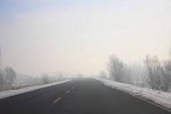 The fog of the highway Stock Photos