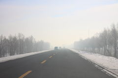 The fog of the highway Stock Photo