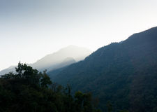 Fog in himalayas. Fog hiding the hills of the Himalayan range. This is a popular vacation spot Royalty Free Stock Photos