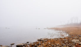Fog on horizon, rising off the Ottawa River - Foggy Ottawa River shoreline Stock Photography