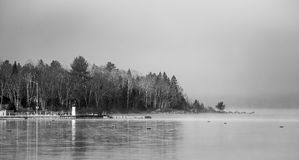 Fog on horizon, rising off the Ottawa River. Royalty Free Stock Images