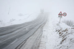 Fog and ice on road Royalty Free Stock Image