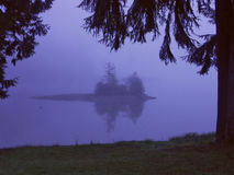 Fog Island. An tiny island in the morning fog Stock Images