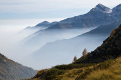 Fog in Italian Alps Royalty Free Stock Photos