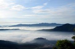 Fog at Khohong Hill Stock Photo