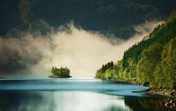 Fog on lake. In the Norway royalty free stock photography