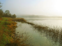 Fog on the lake. In Crimea Stock Photography