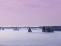 Fog on the Lake. In afternoon stock image