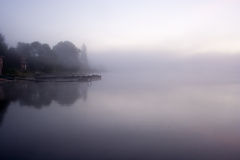 Lake Seliger: morning mist Stock Image