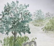 Fog on the lake. Oil painting of Fog above a lake with trees on a rainy autumn day Royalty Free Stock Photo