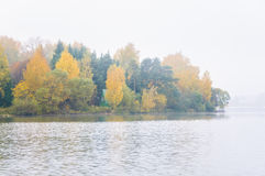 Fog on the lake Senezh in Solnechnogorsk fall in calm weather Royalty Free Stock Photo