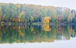 Fog on the lake Senezh in Solnechnogorsk fall in calm weather Stock Images