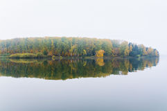 Fog on the lake Senezh in Solnechnogorsk fall in calm weather Stock Image
