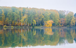 Fog on the lake Senezh in Solnechnogorsk fall in calm weather Royalty Free Stock Image