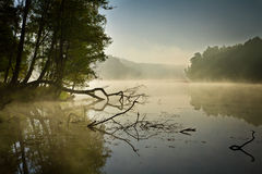 Fog and lake at sunrise. In fall stock photo