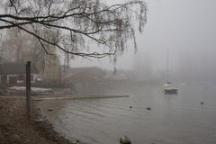 Fog at the lakeside Stock Photography