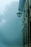Fog Lamps. Lamps in little ancient town with fog Royalty Free Stock Photo