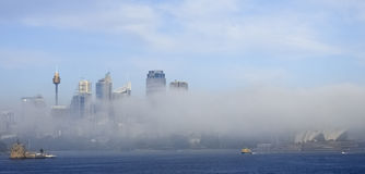 Fog lifting off Sydney City Stock Images