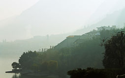 In the fog. Limone sul garda in the fog Stock Images