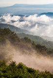 Fog and low clouds clear out of the Blue Ridge after a summer thunderstorm in Shenandoah National Park Royalty Free Stock Photography