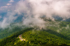 Fog and low clouds over Skyline Drive, seen from Little Stony Man Cliffs in Shenandoah National Park Stock Photography