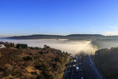 Fog on M62 motorway. In autumn stock image