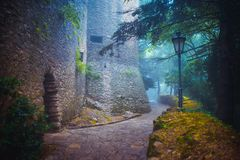 Fog in the medieval town Royalty Free Stock Image