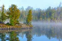 Fog and Mist at Morning in the Lake Country Stock Image