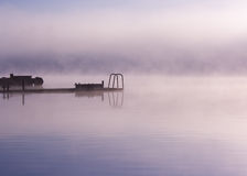 Lake Seliger: fog moorage Stock Images