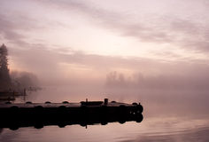 Fog moorage sky lake Royalty Free Stock Photos