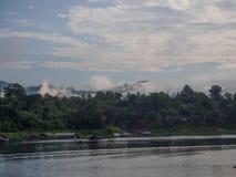 Fog,morning light a view from from the bridge. the Sagklaburi,Kanchanaburi. stock photo
