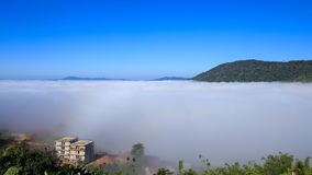 Fog in the morning with mountain at Khao Kho, Phetchabun, Thailand stock video