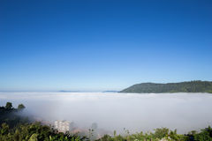 Fog in the morning with mountain at Khao Kho, Thailand Royalty Free Stock Images