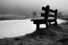 Fog, calm, river ,tree. Fog, morning, sitting in mist on bench. Black and white photo to capture contrast.stones at the river,fog, calm, man,river stock photos