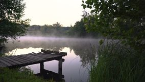 Fog in the morning. Thick fog over river in the morning stock video footage