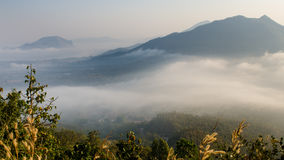 Fog. Morning fog from the top of the mountain Royalty Free Stock Images