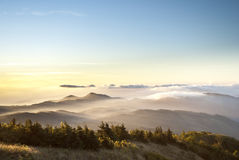 Fog on the mountain Stock Images